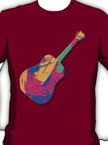 Guitar Shape Wild Paint Brush Colors  T-Shirt