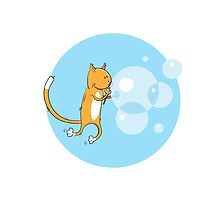 Cat and soap bubbles. by Voron4ihina