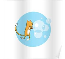 Cat and soap bubbles. Poster