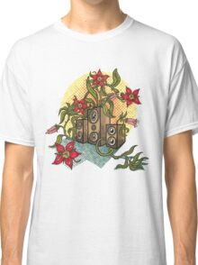 Summer illustration with music speakers and flowers.  Classic T-Shirt
