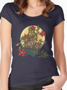 Summer illustration with music speakers and flowers.  Women's Fitted Scoop T-Shirt