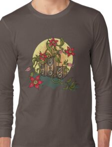Summer illustration with music speakers and flowers.  Long Sleeve T-Shirt