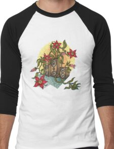 Summer illustration with music speakers and flowers.  Men's Baseball ¾ T-Shirt