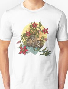 Summer illustration with music speakers and flowers.  Unisex T-Shirt