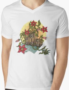Summer illustration with music speakers and flowers.  Mens V-Neck T-Shirt