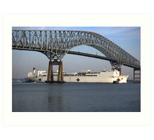 USNS COMFORT passes under Key Bridge outbound Port of Baltimore. Art Print