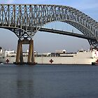 USNS COMFORT passes under Key Bridge outbound Port of Baltimore. by jwhimages