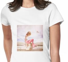Child Mermaid on Seashell at Beach Womens Fitted T-Shirt