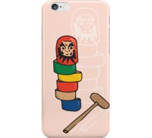 Japanese Daruma Otoshi (Pink Background) iPhone Case/Skin