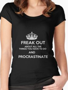 Freak Out and Procrastinate (White) Women's Fitted Scoop T-Shirt