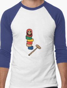 Japanese Daruma Otoshi (Plain Background) Men's Baseball ¾ T-Shirt