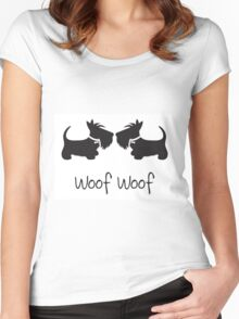 Woof Woof Scottie Dogs Women's Fitted Scoop T-Shirt