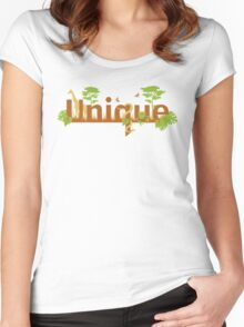 Unique planet safari design Women's Fitted Scoop T-Shirt