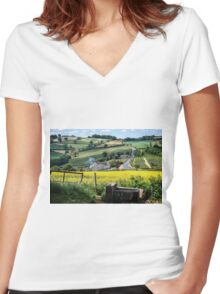 Midsummer Smoke In An English Valley Women's Fitted V-Neck T-Shirt