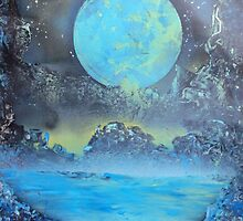 Spray Paint Art- Two Moons by Annika Thurgood