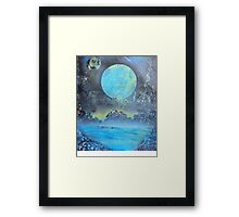 Spray Paint Art- Two Moons Framed Print
