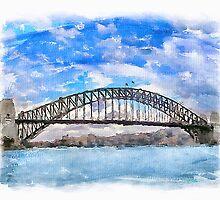 Sydney Harbour Bridge, Digital Watercolor painting by Shamus Macca