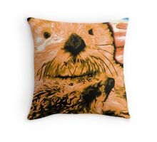 peaches, Orange color painted Sea Otter Throw Pillow