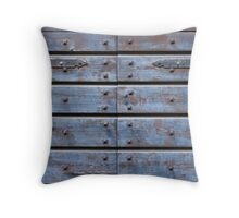 old wooden blue door Throw Pillow