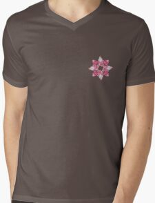 Stylized flowers on the pink background Mens V-Neck T-Shirt