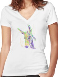Cute t-shirt color donkey Women's Fitted V-Neck T-Shirt