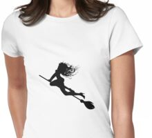 Silhouette of a witch Womens Fitted T-Shirt