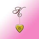 K Golden Heart Locket by Chere Lei