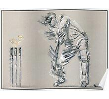 Bowled - cricket batting sketch Poster