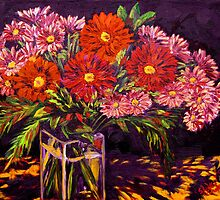 Mixed Daisies in a Vase by sesillie