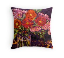 Mixed Daisies in a Vase Throw Pillow