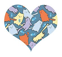 funny cartoon cats  Photographic Print