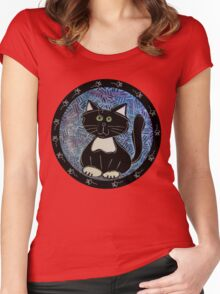 Black and White Tuxedo Kitty Women's Fitted Scoop T-Shirt