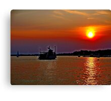 A  Riverboat  going into the sunset     Canvas Print