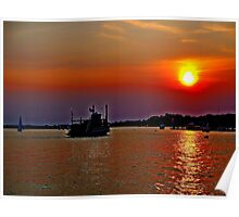 A  Riverboat  going into the sunset     Poster