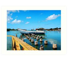 Boat Docked at Antigua Art Print