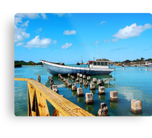 Boat Docked at Antigua Metal Print