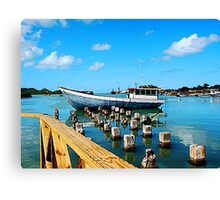 Boat Docked at Antigua Canvas Print