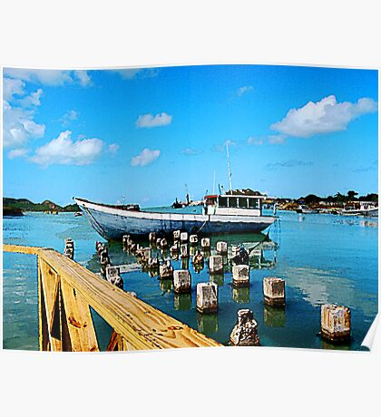 Boat Docked at Antigua Poster