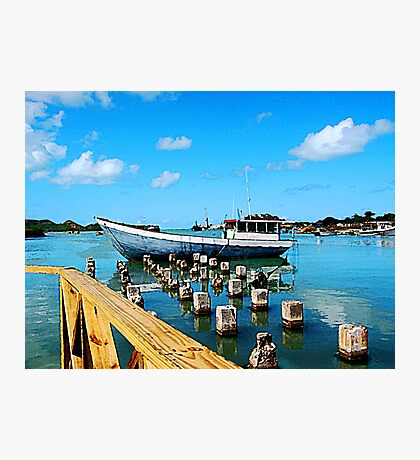 Boat Docked at Antigua Photographic Print