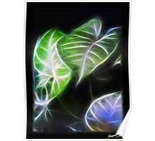 Styled Leaves 1 Color Glow Poster