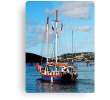 Red, White and Blue Boat at St. Thomas Metal Print