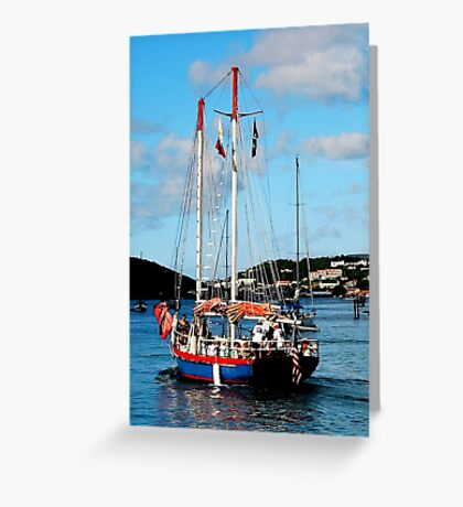 Red, White and Blue Boat at St. Thomas Greeting Card