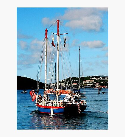 Red, White and Blue Boat at St. Thomas Photographic Print
