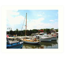 Line of Docked Boats, Tuckerton Seaport, NJ Art Print