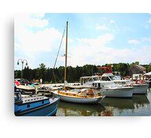 Line of Docked Boats, Tuckerton Seaport, NJ Canvas Print