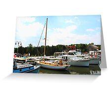 Line of Docked Boats, Tuckerton Seaport, NJ Greeting Card