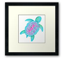 Whimsical turtle watercolor kids art Framed Print
