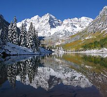 """Morning Sun on Midnight Snow, Maroon Bells, Colorado"" by Stephanie McPollock"