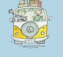 Volkswagen VW Camper Van Couple by AndyLanhamArt