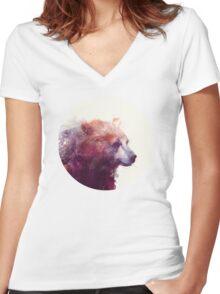 Bear // Calm Women's Fitted V-Neck T-Shirt
